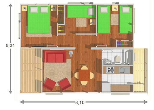 Plano de casa elevada de 3 dormitorios