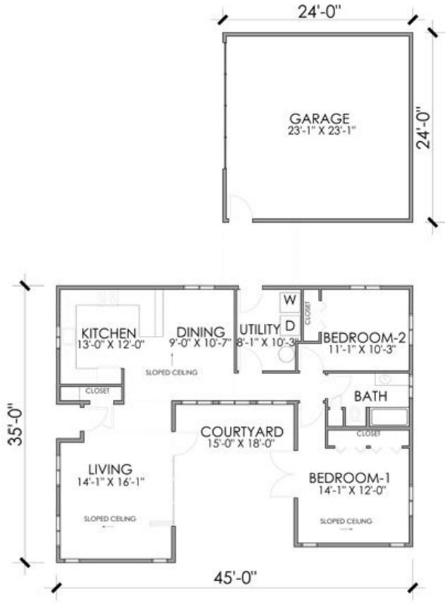 Plano de casa sencilla con medidas