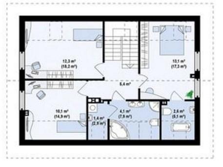 Casa moderna con techo inclinado
