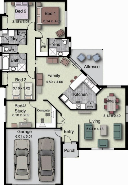 dise o de casa moderna de cuatro dormitorios planos de