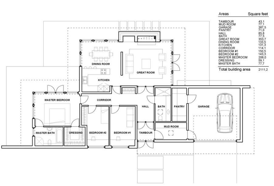 Plano casa minimalista una planta