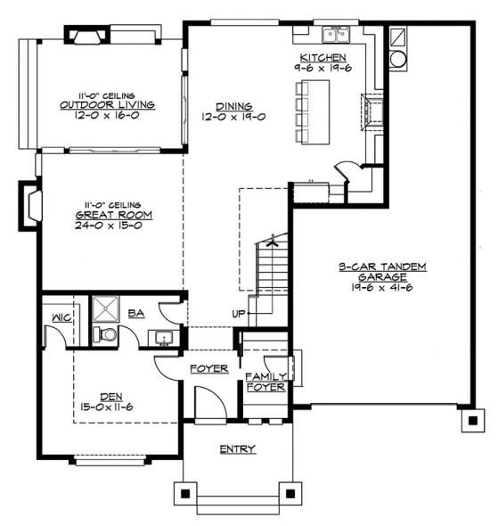 Plano de casa con cochera grande