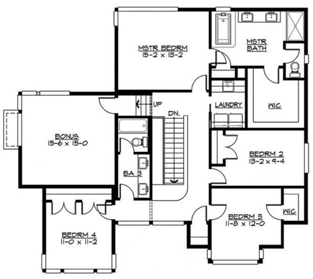 Plano de casa con cochera triple
