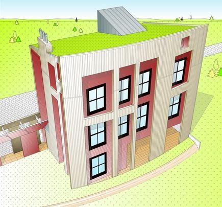Plano de casa moderna con frente curvo