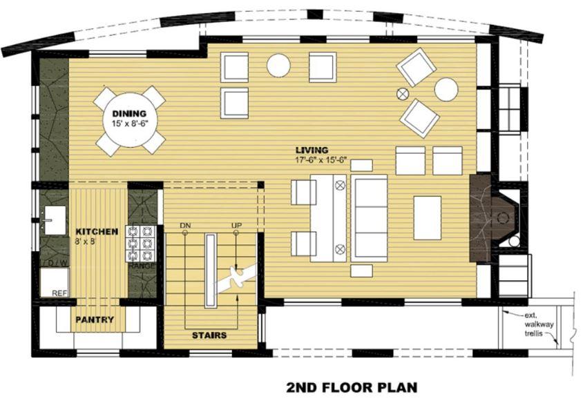 Plano de casa moderna con frente redondeado