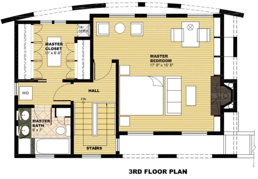 Plano de casa moderna con frente semicircular