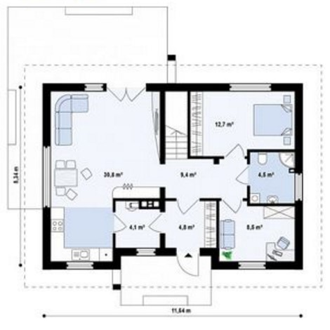 Plano de casa moderna con techo a dos aguas