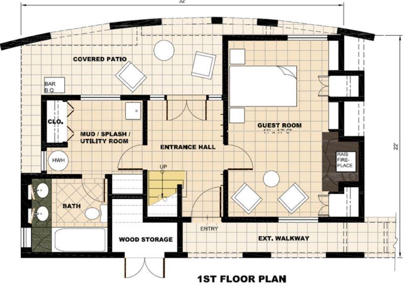 Plano de casa moderna con terminaciones curvas