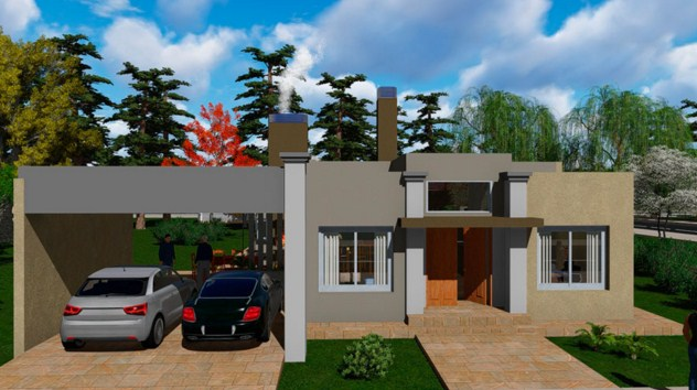 Plano de casa moderna de 14 x 20 m