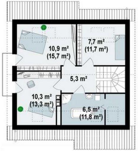 Plano de casa con techo a 2 aguas planos de casas modernas for Planos para segundo piso