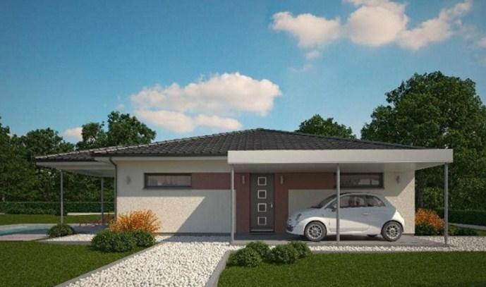 planos de casas de un piso con vista frontal y lateral
