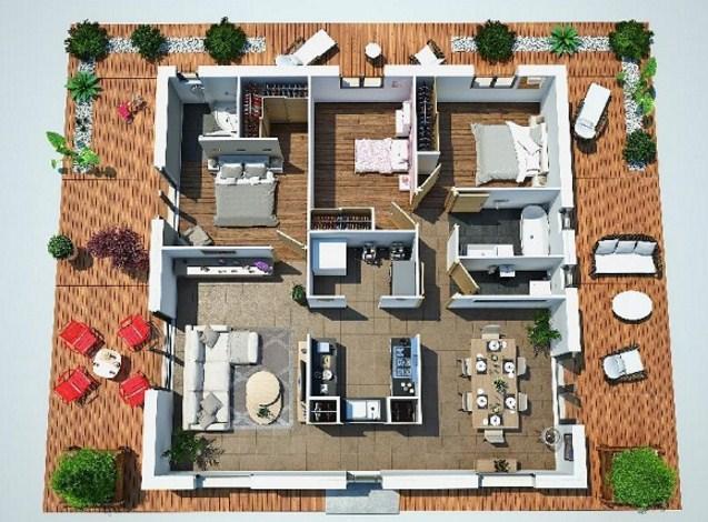 2 dormitorios planos de casas modernas for Planos planos de casas