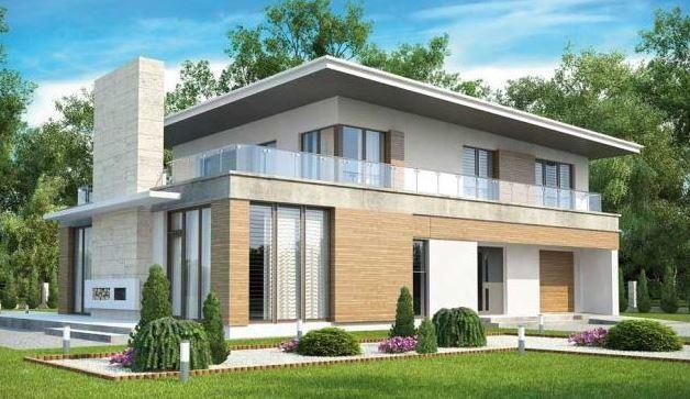 Casa moderna con oficina y terraza
