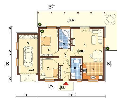 1 piso planos de casas modernas for Piso 60 metros cuadrados