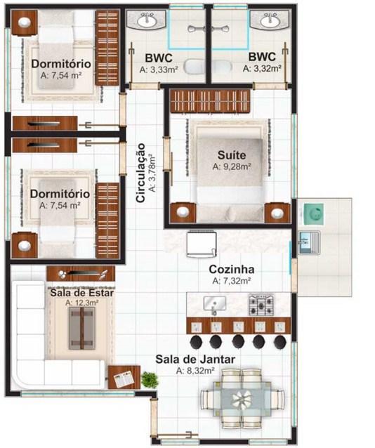 Modelos de casas de 60 metros cuadrados - Piso de 60 metros cuadrados ...