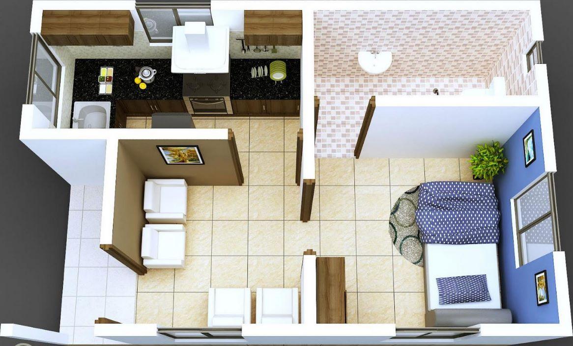 modelos de departamentos de 50 metros cuadrados