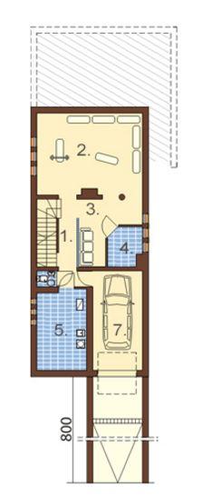 Plano de casa angosta y larga