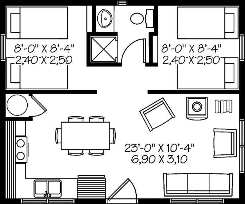 Plano de casa con medidas en metros planos de casas modernas for Planos de departamentos de 40m2