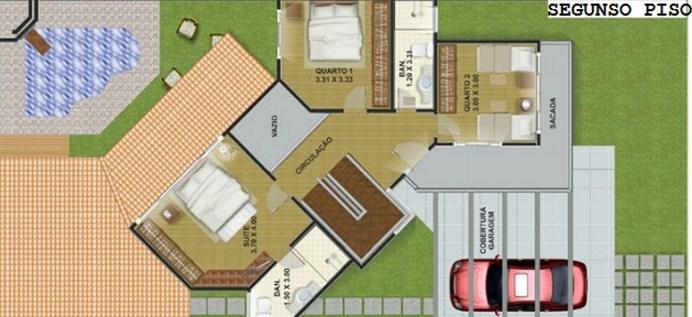 Plano de vivienda de dos plantas y tres dormitorios