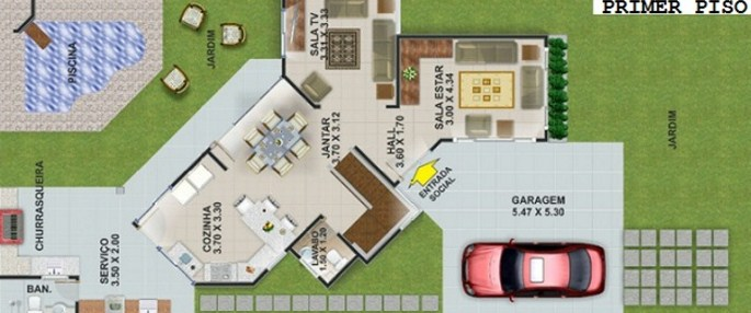 Plano de vivienda moderna de dos plantas