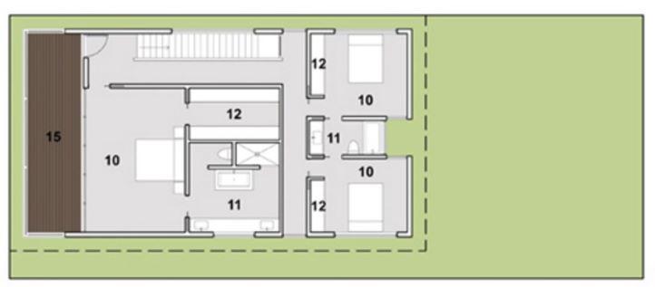 plano de casa moderna planta alta