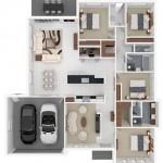 Planos de casas en 3d con 4 dormitorios