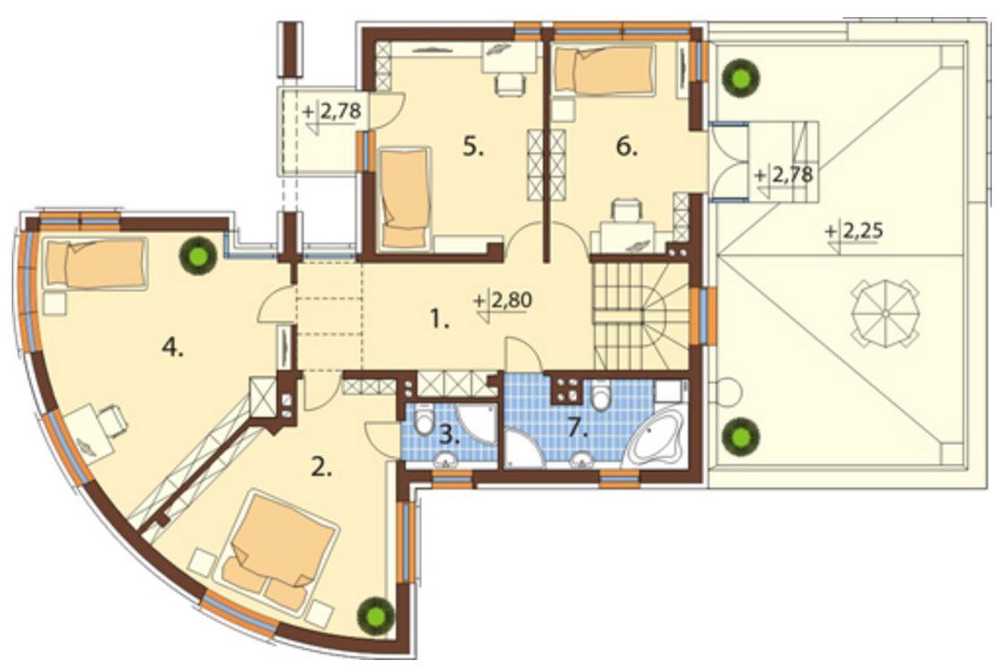 Casa con parque plano arquitectura