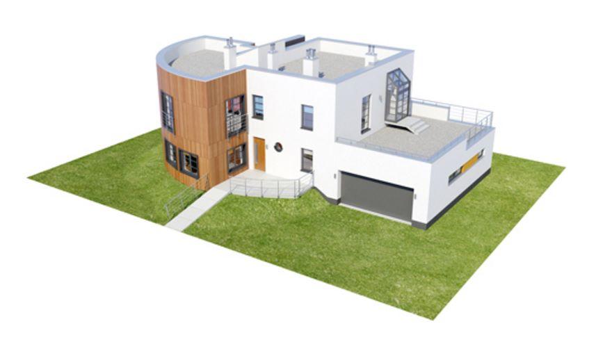 Casa con parque vista isometrica