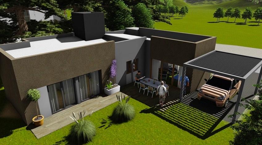 Modelo de casa de dos habitaciones for Planos y fachadas de casas modernas de una planta