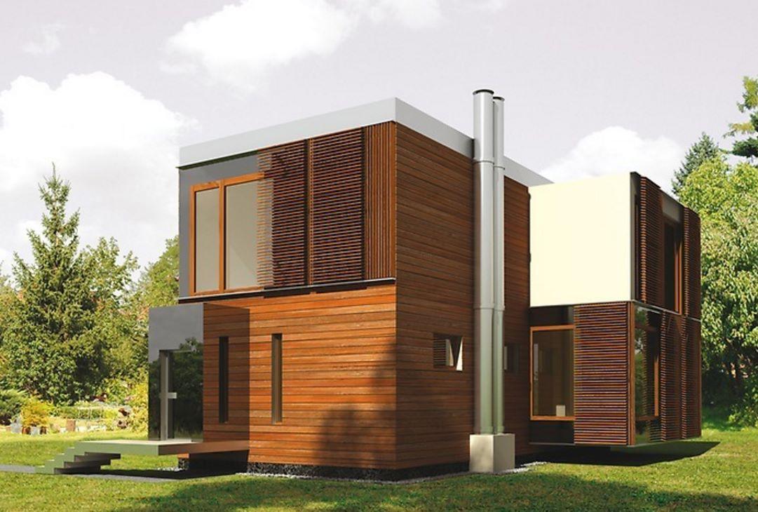 Casa revestida en madera con estilo moderno