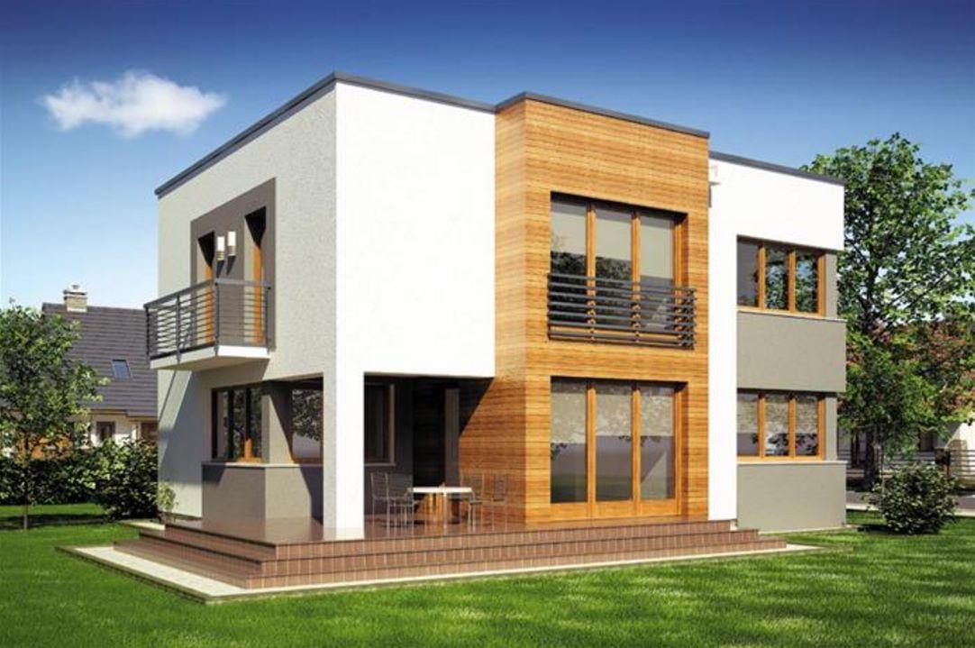 Plano de casa de 2 pisos con cochera y balcones for Planos de casas 200m2