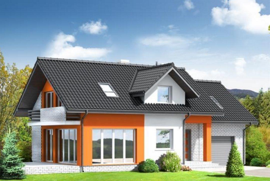 Fachada de casa clásica de tejas negras