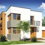 Plano de casa de 2 pisos con cochera y balcones