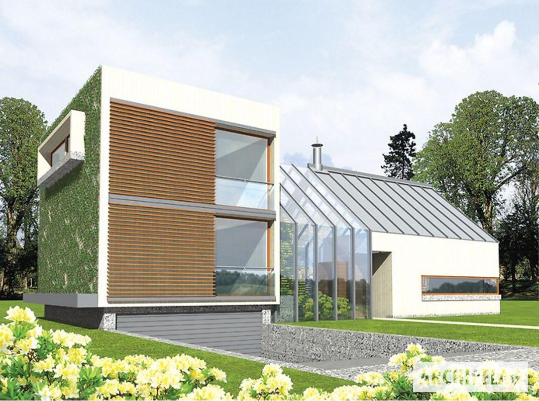 Fachada de casa moderna con solárium