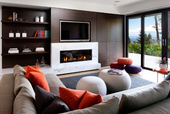 Living con chimenea moderna