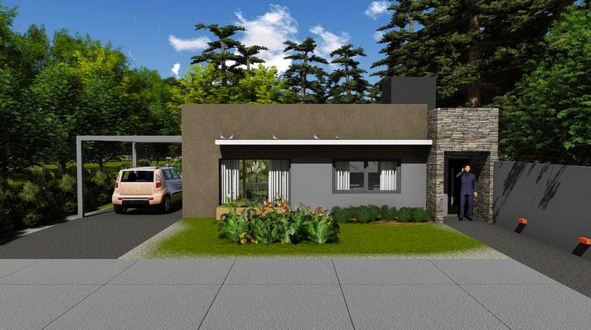 Modelo de fachada de casa de dos habitaciones