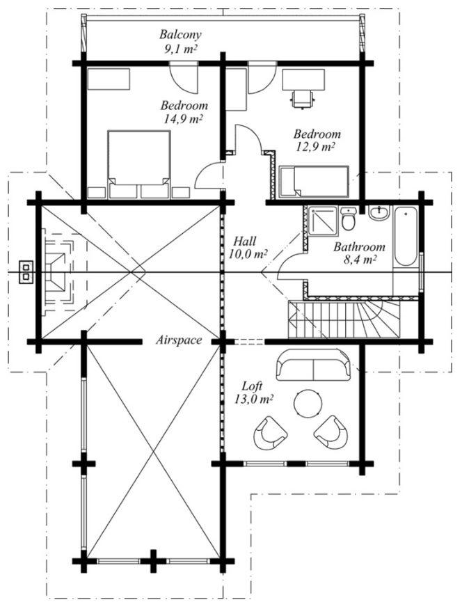 Plano de Cabaña con estilo moderno