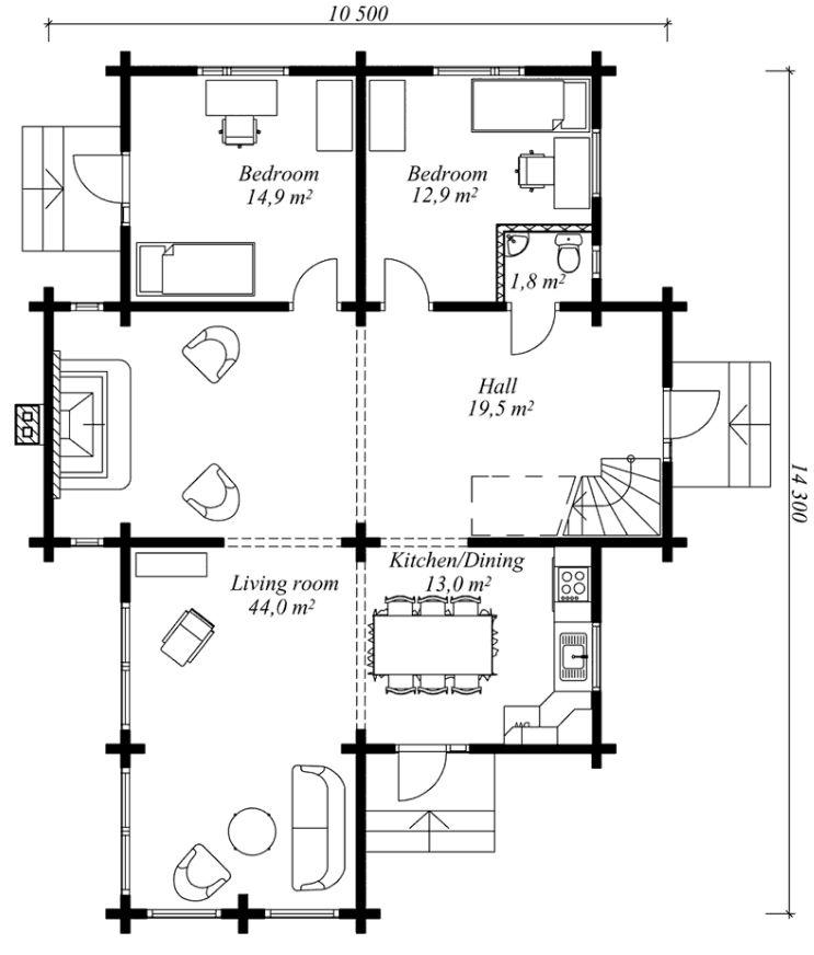 Plano de cabaña de 2 pisos con estilo moderno