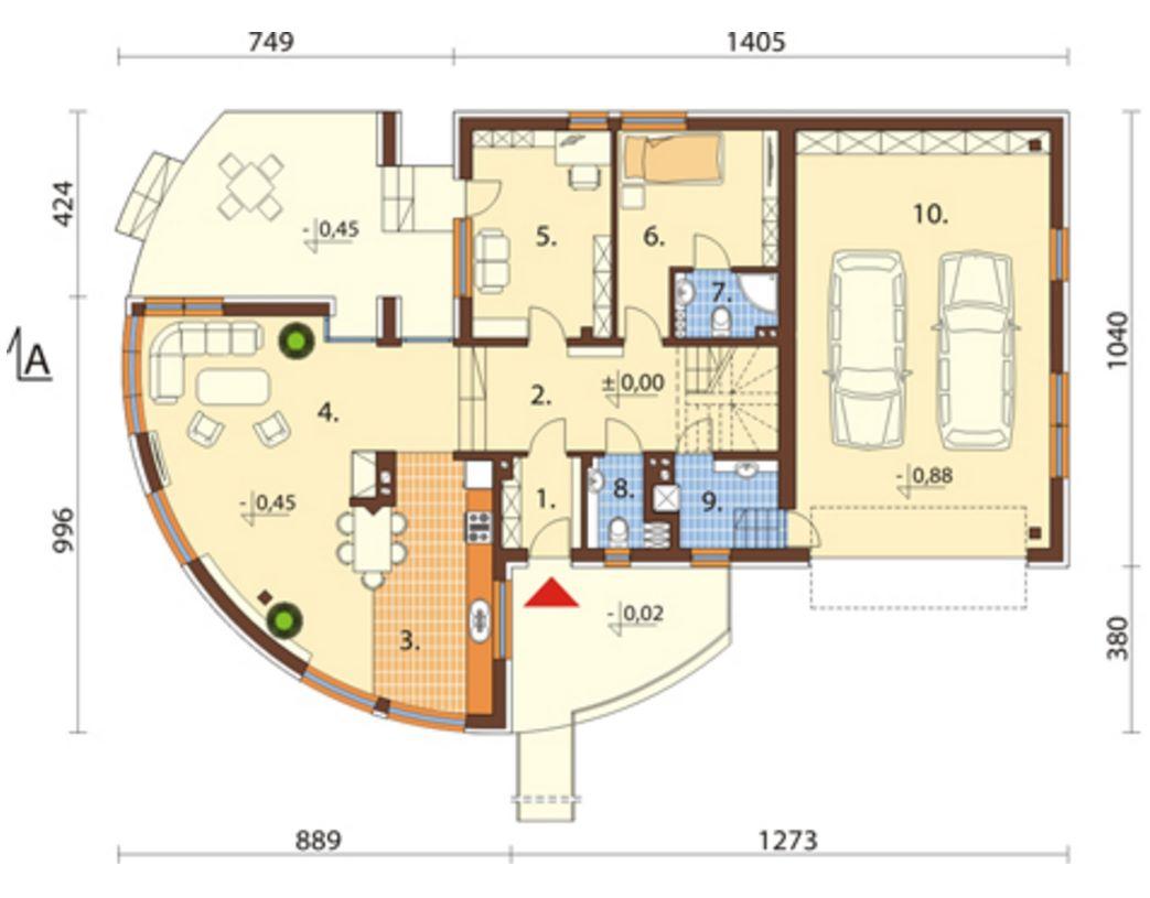 Plano de casa con parque