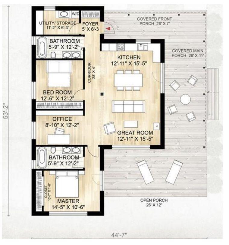 Casa de madera de un piso for Plano casa un piso