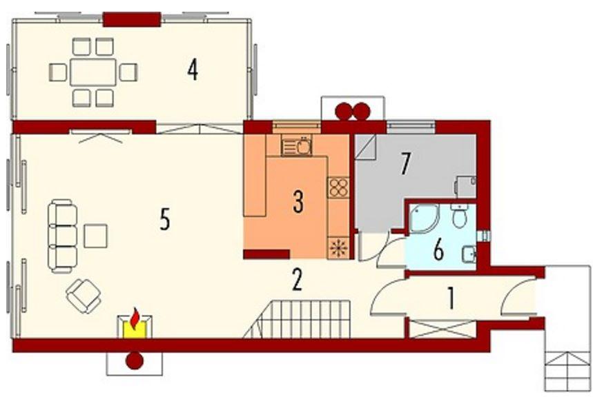 Plano de casa revestida en madera con estilo moderno