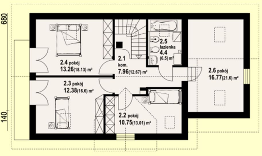 Planos de casa clásica de tejas negras