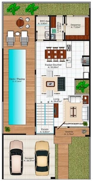 Planos de casas con cochera para dos carros for Planos de casas medianas