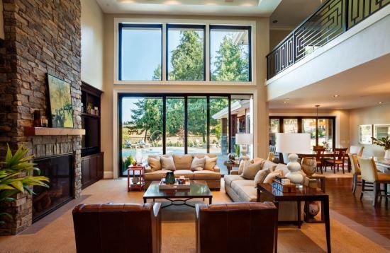 Salones modernos con chimenea for Cocina y sala juntos