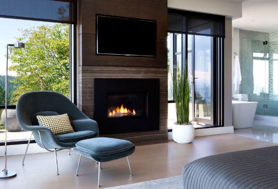 salones modernos con chimenea eléctrica