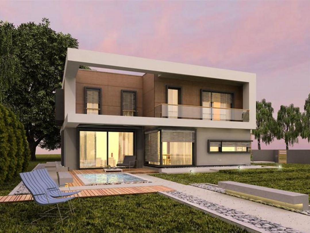 Casa moderna con garaje doble y 240 metros cuadrados for Casa minimalista 2 plantas