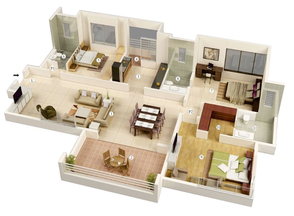 Departamento de 3 dormitorios y 3 ba os Departamento 3 habitaciones