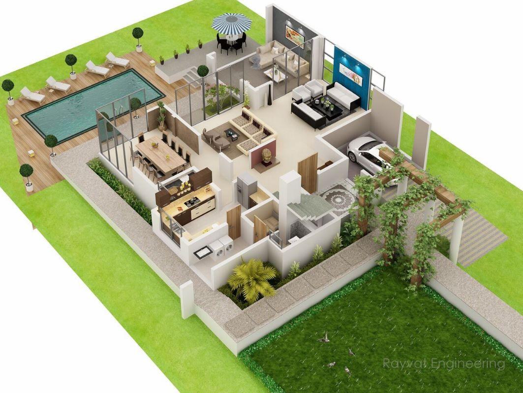 Departamento de dos pisos con cochera for Planos de casas 90m2