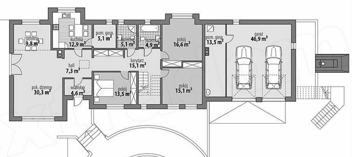 Fachada de casa amplia de 2 pisos