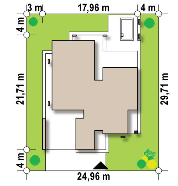 Plano de casa moderna para terreno de 25x30m